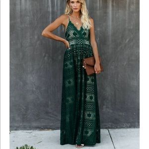 Mosaic Of Fall Lace Maxi Dress Green. Small